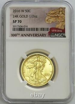2016 W Gold Walking Liberty 50c Centennial Anniversary 1/2oz Coin Ngc Sp 70
