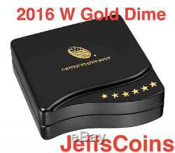 2016 W Mercury Dime Centennial Gold Coin 10 ¢ Ongecirculeerd 16xb. 9999 24k 1916