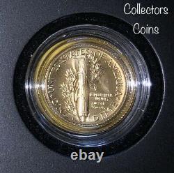 2016 W Mercury Dime Commemorative Gold Coin (. 1 Oz) Dans L'emballage Du Gouvernement D'origine