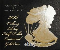 2016 Walking Liberty Demi-dollar Centennial Gold Coin W Box & Coa Item#p13441