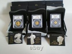 2016-w 3 Pièces De Monnaie Centennial Pièces D'or Pcgs Sp70 Premier Anniversaire De Grève 100e Anniversaire