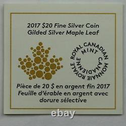 2017 20 $ Feuille D'érable Dorée En Forme De 1 Oz De Pièce Plaquée Or Argent Pur