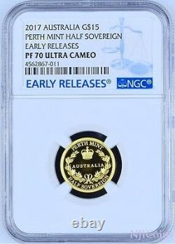 2017 Australia Half Sovereign Gold $15 Coin Ngc Pf70 Uc Er With Ogp