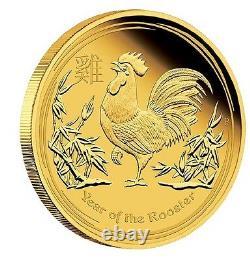 2017 Australie Année Lunaire Du Coq 1/10 Oz Preuve D'or 15 $ Coin Australie