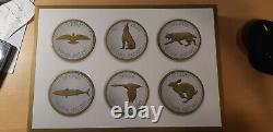 2017 Canada Big Coin Series Set 6 Pièces D'argent Plaquées Or Colville Designs