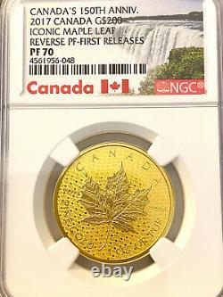 2017 Canada Feuille D'érable Canada 150e Or Ann Inversée 1 Oz Proof Ngc Pf70 Fr