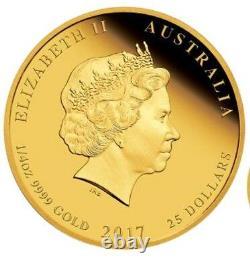 2017 P Australie Proof Gold 25 $ Année Lunaire Rooster Ngc Pf70 1/4 Oz 25 $ Coin Er