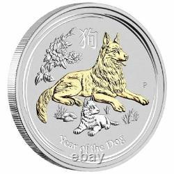 2018 Australie Année Lunaire Du Chien Gilded 1oz Silver $1 Pièce Avec Ogp Box Gilt