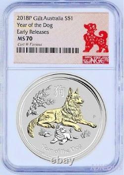 2018 P Australie Gilded Argent Lunaire Année De Dog Ngc Ms 70 1oz $1 Coin Gilt
