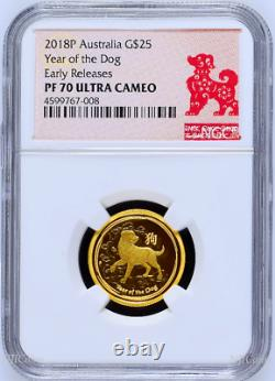 2018 P Australie Proof Gold 25 $ Année Lunaire Dog Ngc Pf70 1/4 Oz 25 $ Coin Er