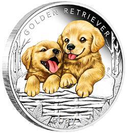 2018 Puppies Golden Retriever Proof Argent Ngc Pf70 1/2oz Pièce Lunaire Année Dog Er