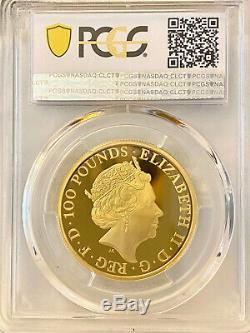 2019 Grande-bretagne Bêtes De La Reine Blanche Lion D'or 1 Once Proof Coin Pcgs Pr69 Dcam