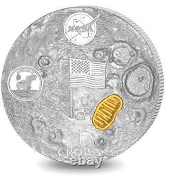 2019 Nasa Homme Sur La Lune High Relief Domed 2 Oz Silver Coin Apollo 11 Plaqué Or
