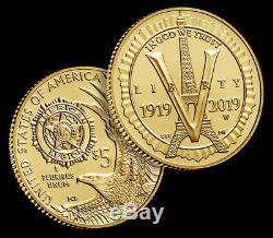 2019 W 5 $ Gold American Legion 100ème Anniversaire Uncirculated Coin -avec Box & Coa