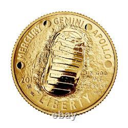 2019 W Us Gold $5 Apollo 11 Pièce De Preuve Commémorative En Capsule