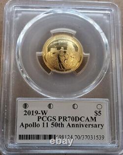 2019-w $5 Pièce D'or Apollo 11 50e Anniversaire Gary Cooper Signé Pcgs Pf70dcam