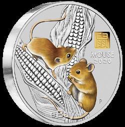 2020 Année Lunaire De La Souris 1 Kilo Argent $ 30 Pièce Ngc Ms70 Avec De L'or Privé Mark