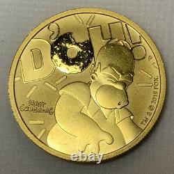 2020 Homer Simpson 100 $ 1oz. 9999 Coin De Bullion D'or Solide Fine