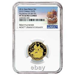 2020 Proof 25 Pound Gold Mayflower Commemorative Ngc Pf70uc Ide Mayflower Label