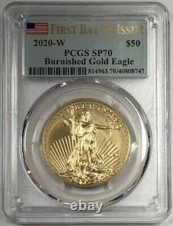 2020 W $50 Burnished Gold Eagle Premier Jour De L'émission Pcgs Sp70. Expédition Aujourd'hui