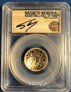 2020 W $5 Gold Basketball Hof Naismith Lire! 6 Ensemble De Pièces Pcgs Pr70dcam 6 Autograp
