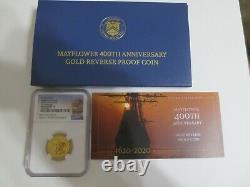 2020-w $10 Or 1/4 Oz. Ngc Pf70 Reverse Proof Mayflower 400th Anniversary F. R