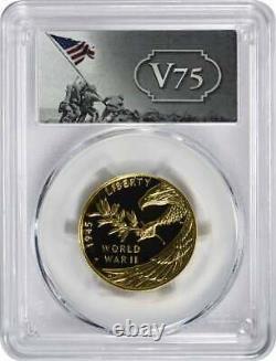 2020-w $25 Fin De La Seconde Guerre Mondiale 24-karat Gold Coin Pr70dcam Fs Pcgs V75 Label