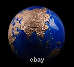 2021 3 Oz. Argent Pièce Bleu Marbre Planète Terre Avec Plaqué Or Rose
