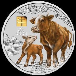 2021 Année De L'ox 1 Kilo. 9999 Silver Coin Australia Avec 1g De Marque Privée D'or