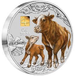 2021 Année Lunaire De L'ox 1 Kilo Argent 30 $ Pièce Ngc Ms70 Avec Gold Privy Mark