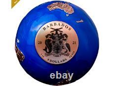 2021 Blue Marble Planet Earth $5 Pure Silver Rose Or Plaqué Pièce Sphérique MDM