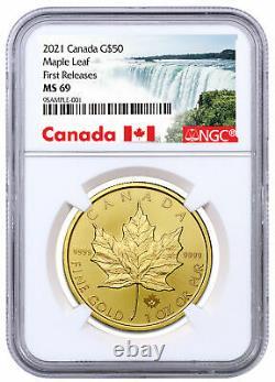 2021 Canada 1 Oz Feuille D'érable D'or 50 $ Pièce Ngc Ms69 Fr Label Exclusif Presale