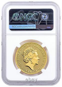 2021 Grande-bretagne 1 Oz Gold Queen's Beasts Completer £100 Coin Ngc Ms70 Fr