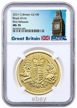 2021 Grande-bretagne Armoiries Royales 1 Oz D'or £100 Coin Ngc Ms70 Fr Big Ben Label