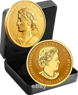 2021 Lady Peace Pax Nation 200 $ 1oz 99.999 Pure Présentation De L'or Pièces Coin Canada Sea-sea