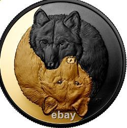 2021 Le Loup Gris Noir Et Plaqué Or 20 $ 1oz Pièce D'argent Pur Canada
