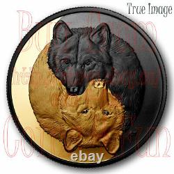 2021 Loup Noir Et Gris D'or -20$ D'or D'argent Pur/coin Plaqué Rhodium Canada