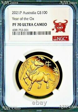 2021 P Australie Proof Gold 100 $ Année Lunaire De L'ox Ngc Pf70 1 Oz Coin