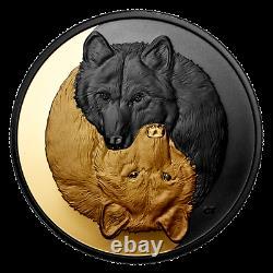 2021 Pièce Plaquée Or Noir Et Or Le Loup Gris 1 Oz. Argent Pur 20 $-canada