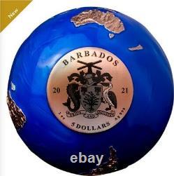 3 Oz De Marbre Bleu Pièce D'argent Pur Avec Placage En Or Rose Mintage 999