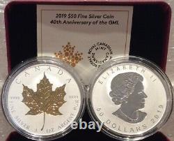 40e Anniversaire 2019 Feuille D'érable D'or Gml 50 $ 3oz Argent Proof Coin Canada