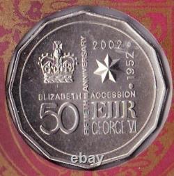 Australie 2002 Pnc Jubilé D'or Qeii Adhésion Ram 50c Pièce Commémorative