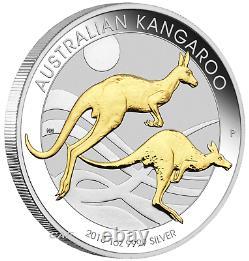 Australien Gilt Gilded 2018 Kangaroo Proof Argent 1 Oz Dollar 1 $ Coin Australie