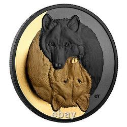 Black And Gold The Grey Wolf 1oz Pure Silver Coin, Monnaie Royale Canadienne Pre-sale