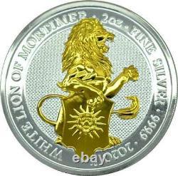 Blanc Lion De Mortimer Les Bêtes De La Reine 2020 2 Oz Pièce De Bullion En Argent Doré