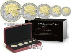 Canada 2014 5 Coin 24 Carats D'or Pur D'argent Feuille D'érable Set Fractional