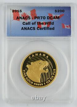 Canada 2015 $200 Call Of Wild 1 Oz Gold Growling Cougar Proof Coin Anacs Pr70