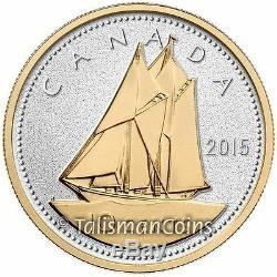 Canada 2015 Big Coins Série Bluenose 10 Cents 5 Oz En Argent Épreuve Numismatique Plaqué Or Ogp