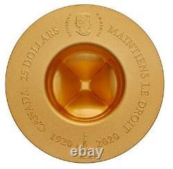 Canada $25 Dollars Argent Pièce, Plaqué D'or, Chapeau Mountie Classique, 2021