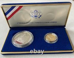 Constitution Américaine 1987 Pièce De Monnaie Avec Une Pièce D'or De 5 $ Et Une Pièce D'argent De 1 $